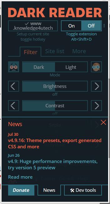 Dark Reader Chrome Extension